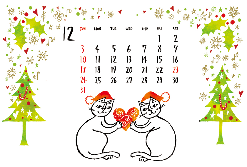 イラストレーターおかべてつろう_12月カレンダー